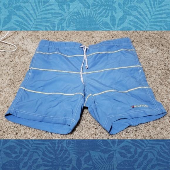 Mens Tommy Hilfiger Swim Trunks sz M L yellow light blue NEW mini floral pattern